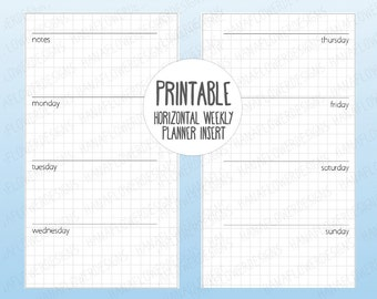Printable personal planner inserts: Horizontal planner with grid background | Weekly planner | Undated week on two pages | Instant Download