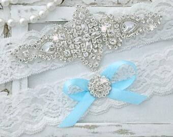 Wedding Garter w/Blue Bow, Garter, Wedding Garter Set, Blue Garter, Bridal Garter Set, Lace Garter, Blue Wedding Garter, Garter Set