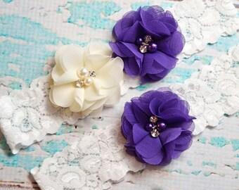 Wedding Garter, Ivory & Purple  Garter Set, Beach Wedding Garter,  Off White Lace Garter, Keepsake Garter, Toss Garter, Purple Garter Belt