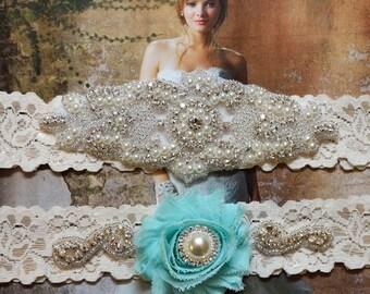 Wedding Garter Set, Bridal Garter Set, Something Blue, Ivory Lace Garter, Blue Garter, Vanessa Style 10721