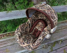 Camo Infant Car Seat Cover - Shadowgrass Blades and Brown Minky