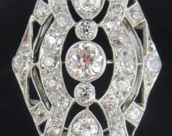 Delux Platinum 2.16 ctw Diamond Lace Statement  Ring