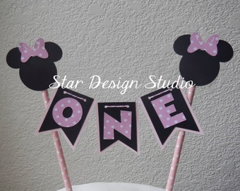 Minnie Mouse Cake Topper Birthday Bunting-  Baby Pink