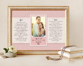 wedding vow art framed wedding vows wedding vow keepsake wedding vow framed wedding vow print