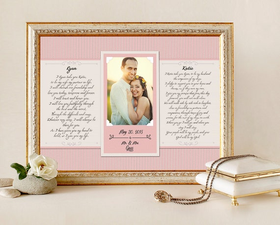 Wedding Vow Art Framed Wedding Vows Wedding Vow Keepsake
