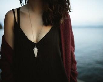 Gunmetal Edged Beige Jasper Stone Arrowhead Necklace