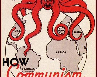 How Communism Works Poster, Josef Stalin, Octopus, Soviet Union, USSR, Russia, Cold War, Political Propaganda