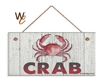 """ON SALE CRAB Sign, Weathered Beach Wood Wall Hanging, Weatherproof, 5"""" x 10"""" Sign, Beach House, Ocean and Sea, Made To Order"""