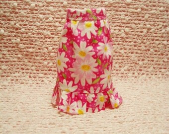 Handmade Barbie clothes - Pink Daisy Flower Ruffled Skirt.  (Skirt Only)