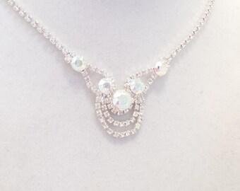 SWAROVSKI CRYSTAL NECKLACE, set ,aroura borealis, crystal earrings, formal, bridal, bridesmaid, elegant, dksjewelrydesigns,
