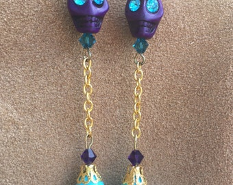 Spirits Take Flight Sugar Skull Earrings Day of the Dead All Hallows' Eve