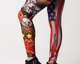 American Patriot - Tattoo Leggings, Mesh Leggings, Printed Leggings, America Flag, USA Flag Pants, Patriotic Quote, 4th July Womens Leggings
