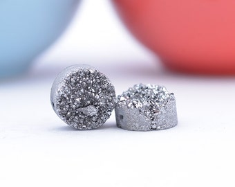 Silver Druzy Beads | Silver Druzy Quartz 12mm Round | Pair (2) Drilled Druzy Beads | REAL Druzy