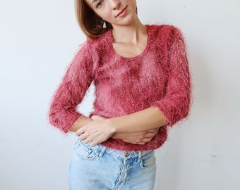 Fluffy Pink 90s Vintage Sweater