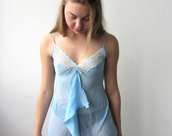 Lovely Pale Blue Sheer Slip Dress with Lace Detailing
