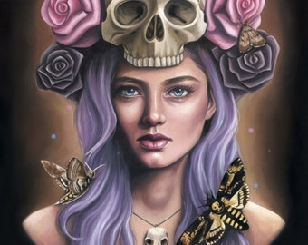 Figurative Gothic Portrait Oil Painting - Skull Roses Headdress - Fine Art Print