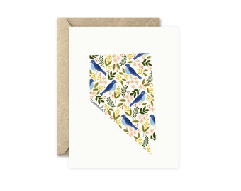 Nevada State Card, Blank Greeting Card, State Flower and Bird, Mountain Bluebird and Sagebrush