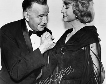 """AGNES MOOREHEAD & Maurice Evans 5x7 or 8x10 Photo Print Hollywood 1964-1972 tv Series, """"BEWITCHED"""", Vintage Golden Age of Hollywood Portrait"""