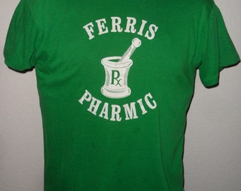 Vintage Original 1980s FERRIS PHARMIC Pharmacy Soft Thin Green Stedman T Shirt L