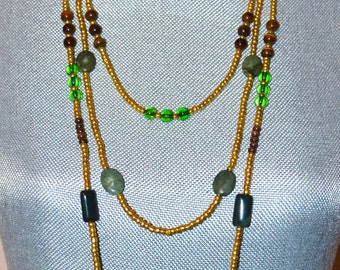 Gold Beaded Long Layered Necklace