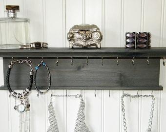 "18"" Necklace Bracelet Holder Jewelry Organizer - Modern Rustic Design - Wall Mounted Necklace Hanger Gray Finish - Handmade - Cedar Wood"