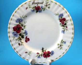 Royal Albert August Plate, Poppy, Flower of the Month Series Dessert Plate