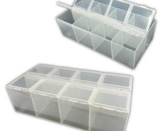 2 x 8-Compartment Plastic Bead Craft Jewellery Storage Organiser Container Box