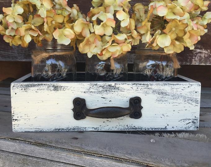 MASON 3 Jars DRAWER Reclaimed Distressed Wood Mail Towel Organizer Box Ball Canning Jar Crate Caddy Storage Handle Burgundy Blue Cream White