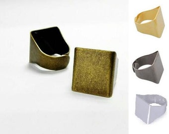 20pcs Antique Bronze Adjustable ring blank, Square Ring blanks, Brass Ring Settings, Large Ring Blank, 20 x 18mm