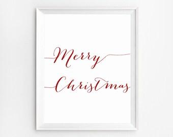 Merry Christmas Print, Digital Typography, Merry Christmas Wall Art Print, Christmas Print, Christmas Wall Art Decor, Merry Christmas Print