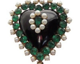 Vintage Pearl Heart Brooch/Pin