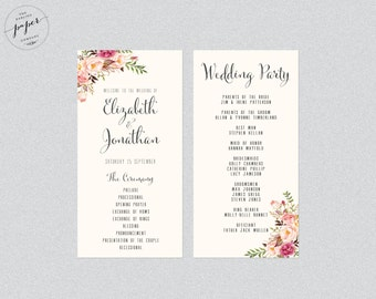 Wedding Program Order Of Service Printable Wedding Rustic Wedding Printable Program Floral Wedding Program Barn Collection