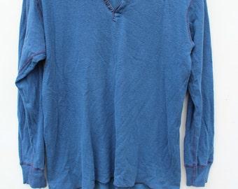 Vintage Henley / LARGE / Long Sleeve Tee Undershirt / Threadbare / Faded Navy Blue Two Tone / 70s 80s   / 90s Grunge / Thermal Shirt Tshirt