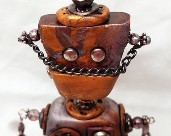 Mixed Media Polymer Clay Steampunk Robot/Ornament