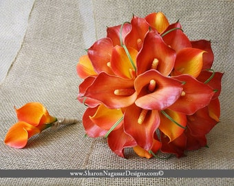 Sunset, calla lily/lilies, wedding, bouquet, burnt/deep orange, persimmon, yellow, Real Touch flowers