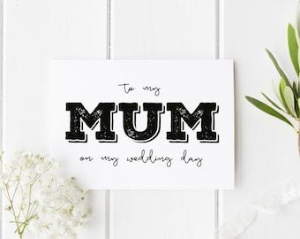 To My Mum On My Wedding Day, Rustic Mom Wedding Day Card, Parents Wedding Card, Card For Mom Wedding Day, Rustic To My Mum On My Wedding Day