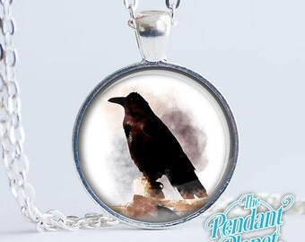 Raven necklace, watercolor painting, bird necklace, gifts for bird watchers, gift for him, gift for husband, gift for boyfriend
