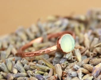 Bohemian Copper Stacking Ring with Rose Cut Aqua Blue Chalcedony - Rustic Elegance Gemstone Ring - Boho Stack Ring - Copper Jewelry