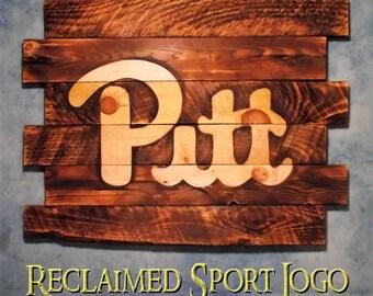 University of Pittsburge, FREE UV protector, 30X23, Burnt wall hanging, Shou Sugi Ban, Wood Sports sign, Sports sign, Man cave, Rustic