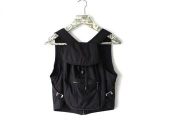Vintage Unique One Piece Black Vest Backpack Travel Rucksack Body Bag