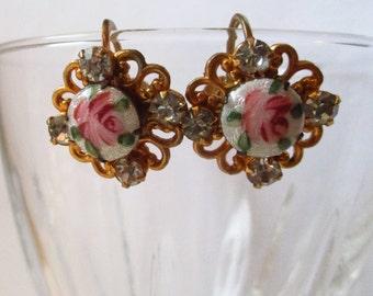Vintage earrings Guilloche enamel pink rose floral rhinestone porcelain Screw Back Gold tone screw back earrings enamel earrings gold tone