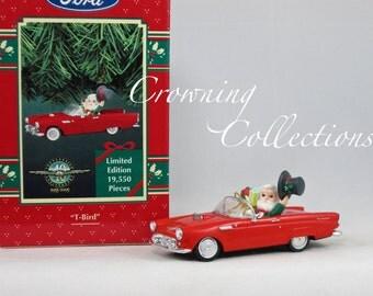 Enesco 1955 T-Bird Red Thunderbird Treasury of Christmas Ornament Ford 40th Anniversary Car Santa Claus Vintage