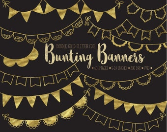 Gold Bunting Banner Clip Art. Gold Glitter Party Garland. Hand Drawn Gold Foil Bunting Flags. Birthday, Wedding, Metallic Bunting Clipart.
