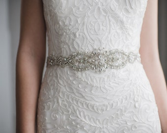 Pearl Crystal Bridal Sash | Rhinestone Wedding Belt | Silver Beaded Bridal Belt Sash | The HARPER