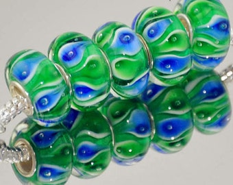 Blue & Green Murano Glass Bead.