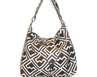 Hobo Bag Purse, Hobo Bag, Brown and White Bag, Slouchy Hobo Bag, Shoulder Bag, Fabric Purse, Gift for Her