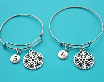 SNOWFLAKE adjustable BANGLE,Initial or Number,snowflake,snow,Christmas,Winter,winter wonderland,snowman,frozen,1543