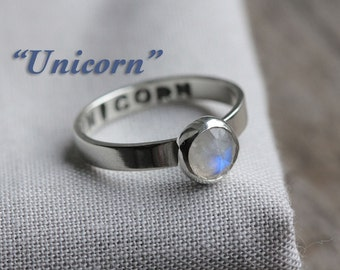 UNICORN - secret identity ring. rainbow moonstone gemstone. polished sterling silver. stamped message jewelry. personalized name band