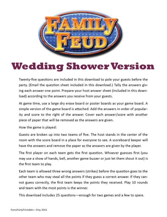 Wedding Shower Family Feud