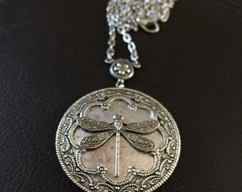 Silver dragonfly locket, dragonfly necklace, steampunk locket, steampunk necklace